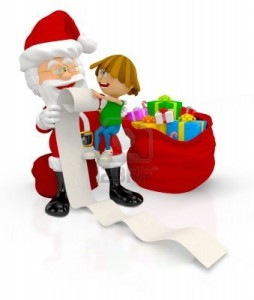 16375278-3d-santa-with-a-kid-and-a-list-of-gifts--isolated-over-white